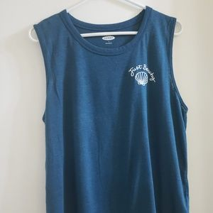 """Linen """"Just Beachy"""" Embroidered Tank"""